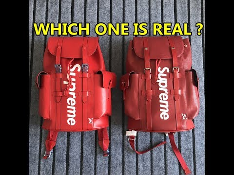 REAL VS FAKE COMPARISON- Louis Vuitton x Supreme Backpack Red